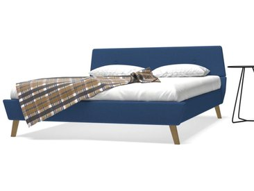Cadre de lit avec sommier à lattes Tissu 160 x 200 cm Bleu - vidaXL