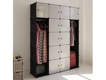 Cabinet modulable avec 14 compartiments noir et blanc 37x146x180,5 cm - vidaXL