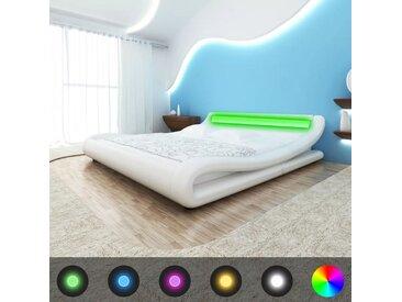 Cadre de lit avec LED 140 x 200 cm Cuir artificiel Blanc - vidaXL
