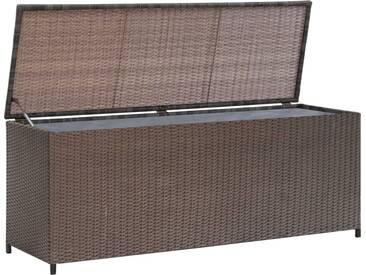 Coffre de stockage de jardin Rotin synthétique Marron - vidaXL