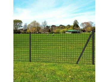 Jeu de clôture Euro avec piquets de sol 10 x 1,2 m Acier Gris  - vidaXL