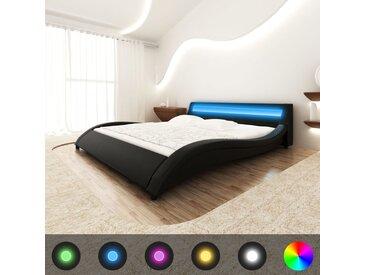 Lit en similicuir avec tête de lit LED 140 cm Noir Matelas à mémoire - vidaXL