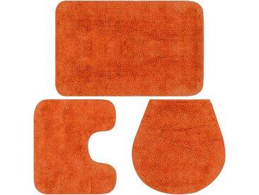 Jeu de tapis de salle de bain 3 pcs Tissu Orange - vidaXL