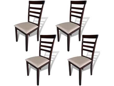 Chaise de salle à manger 4 pcs Bois massif Marron et crème  - vidaXL