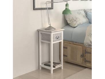 Table de chevet avec 1 tiroir Gris et blanc  - vidaXL
