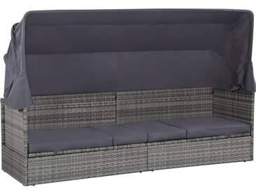 Canapé de jardin et baldaquin Résine tressée 205x62x124 cm Gris - vidaXL
