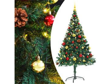 Arbre de Noël artificiel décoré boules LED de Noël 150cm Vert - vidaXL