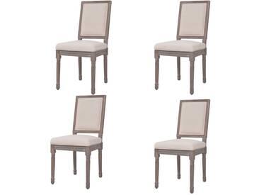 Chaise de salle à manger 4 pcs Lin 47 x 58 x 98 cm Blanc crème - vidaXL