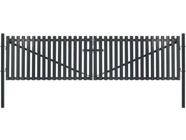 Portail de clôture double porte Acier 400 x 175 cm Anthracite - vidaXL