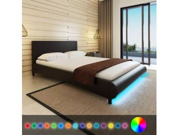Lit avec LED 140 x 200 cm Cuir artificiel Noir  - vidaXL