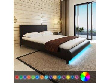 Lit avec LED 140 x 200 cm Cuir artificiel Noir - vidaXL 73ed1166b71e