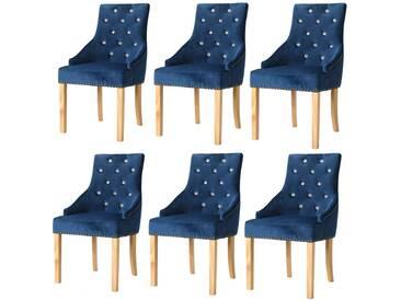 Chaise de salle à manger 6 pcs Chêne massif et velours bleu - vidaXL