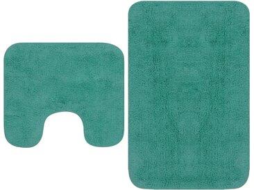 Tapis de salle de bain 2 pcs Tissu Turquoise - vidaXL