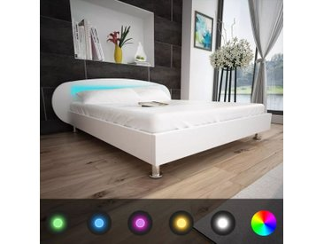 Lit avec LED 140 x 200 cm Cuir artificiel Blanc  - vidaXL