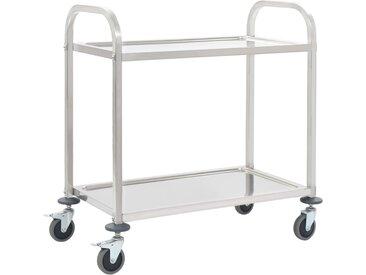 Chariot de cuisine à 2 niveaux 107x55x90 cm Acier inoxydable - vidaXL