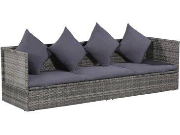 Canapé de jardin Résine tressée 200 x 60 x 58 cm Gris - vidaXL