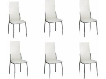 Chaise de salle à manger 6 pcs Chrome Blanc Cuir synthétique - vidaXL