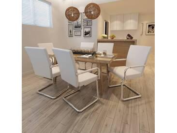 Chaise de salle à manger 6 pcs Cuir artificiel Blanc  - vidaXL