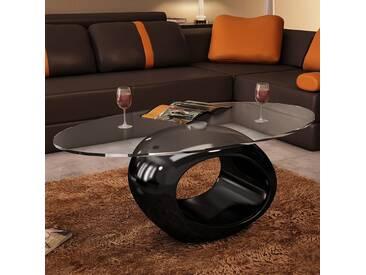Table basse avec dessus de table en verre ovale Noir brillant  - vidaXL