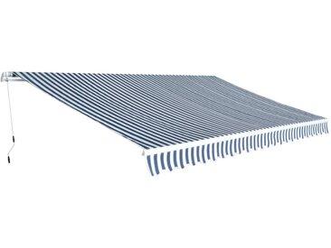 Auvent pliable manuel 500 cm Bleu/blanc - vidaXL