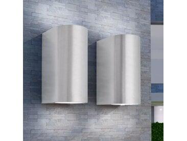 Applique murale LED d'extérieur 2 pièces Ronde vers le bas/haut - vidaXL