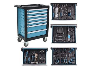 Chariot à outils pour atelier avec 270 outils Acier Bleu - vidaXL