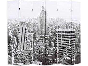 Cloison de séparation pliable 228x180 cm New York Noir et blanc - vidaXL