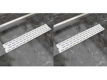 Drain de douche linéaire 2 pcs Ligne 630x140mm Acier inoxydable - vidaXL