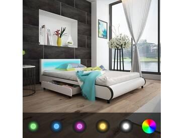 Lit à 2 tiroirs et tête de lit LED 140cm Cuir synthétique Blanc - vidaXL