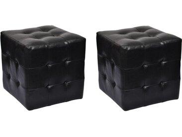 Pouf cube capitonné noir (lot de 2) - vidaXL