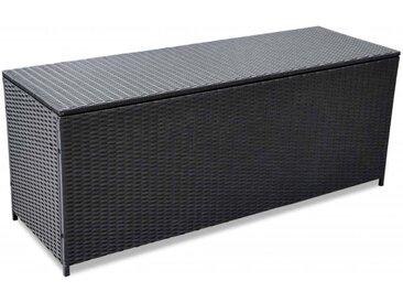 Boîte de rangement d'extérieur Résine tressée Noir 150x50x60 cm - vidaXL