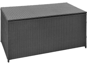Boîte de rangement de jardin Noir 120x50x60 cm Résine tressée - vidaXL