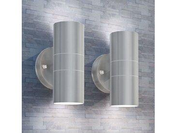 Applique murale LED d'extérieur 2 pcs Inox vers le bas/haut - vidaXL