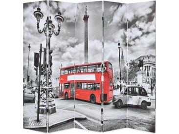 Cloison de séparation 200 x 180 cm Bus londonien Noir et blanc - vidaXL