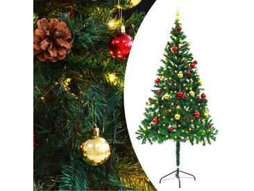 Arbre de Noël artificiel décoré boules LED de Noël 180cm Vert - vidaXL