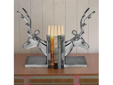 Serre-livres cerf 2 pièces Aluminium Argenté - vidaXL