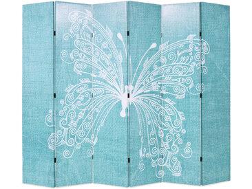 Cloison de séparation pliable 228 x 180 cm Papillon Bleu - vidaXL