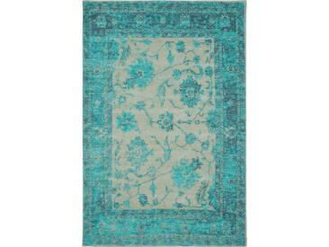 Tapis poil ras Vintage Frencie Flora Turquoise 300x400 cm - Tapis poil court design moderne