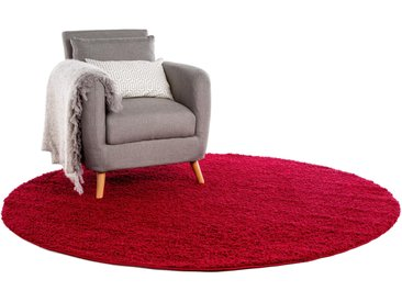 Tapis shaggy à poils longs Swirls Rouge foncé ø 250 cm rond - Tapis doux pour salon
