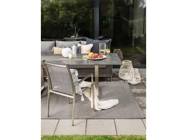 Tapis dextérieur Metro aspect sisal Noir 80x150 cm - Tapis outdoor pour balcon, terrasse et jardin