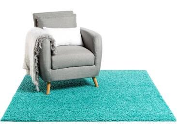 Tapis shaggy à poils longs Swirls Turquoise 300x300 cm - Tapis doux pour salon