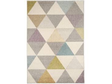Tapis poil ras Pastel Geomet Multicouleur 160x230 cm - Tapis poil court design moderne pour salon