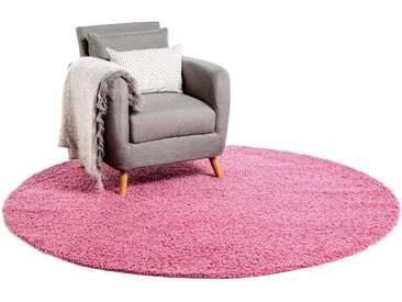 Tapis shaggy à poils longs Swirls Rose ø 250 cm rond - Tapis doux pour salon