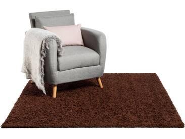 Tapis shaggy à poils longs Swirls Marron 60x60 cm - Tapis descente de lit