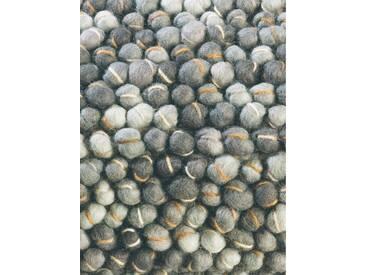 Brink & Campman Tapis en laine à poils longs Cobble Gris foncé 170x240 cm - Tapis nature