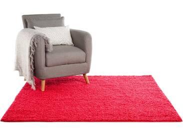 Tapis shaggy à poils longs Swirls Rouge 160x160 cm - Tapis doux pour salon
