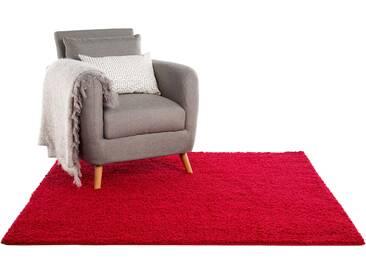 Tapis shaggy à poils longs Swirls Rouge foncé 160x160 cm - Tapis doux pour salon