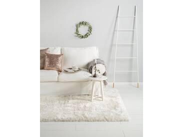 Tapis shaggy à poils longs Lea Blanc 200x200 cm - Tapis doux pour salon