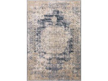 Tapis Vintage Yara Beige/Bleu 80x150 cm - Tapis poil ras / effet usé