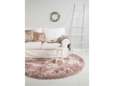 Tapis shaggy à poils longs Lea Rose ø 200 cm rond - Tapis doux pour salon